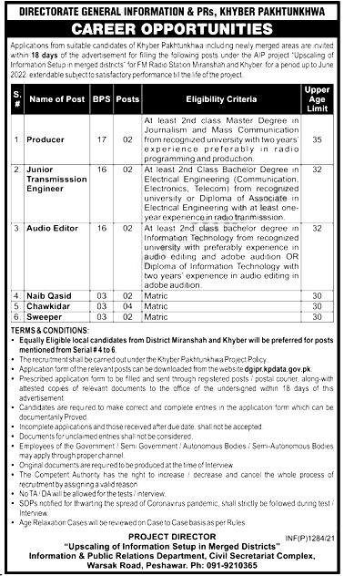 Directorate of Information & Public Relations KPK Jobs 2021