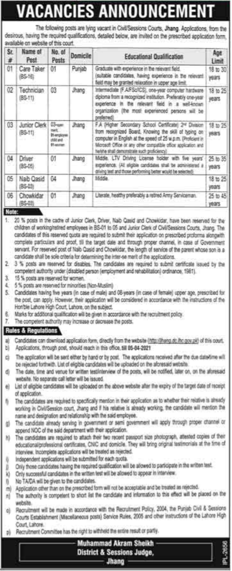 District and Session Court Jhang Jobs 2021