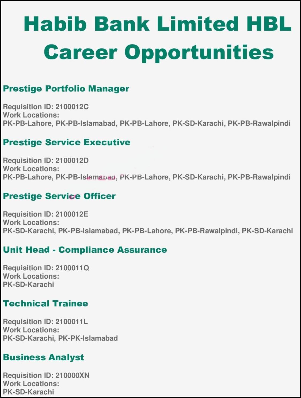 Habib Bank Limited HBL Jobs 2021
