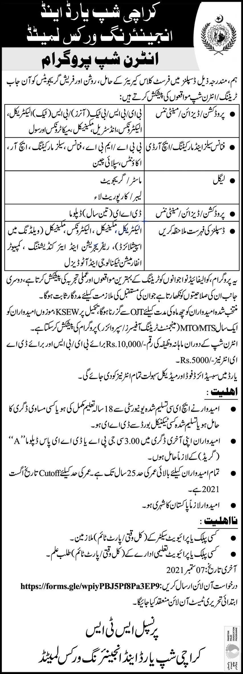 Karachi Shipyard & Engineering Works Limited KSEW Karachi Jobs 2021