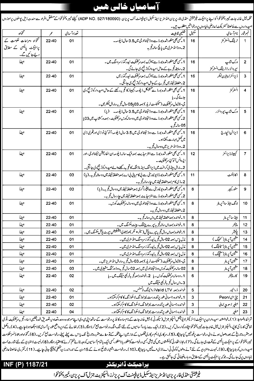 Khyber Pakhtunkhwa Prison Department Jobs 2021