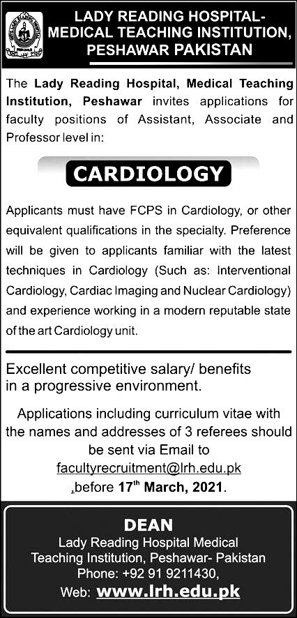Lady Reading Hospital Peshawar Jobs 2021