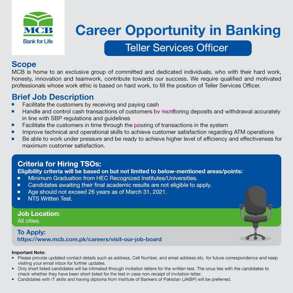 MCB Bank Teller Services Officer NTS Jobs 2021