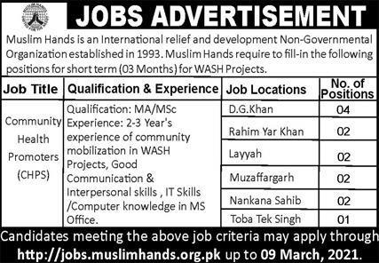 Muslim Hands Organization Punjab Jobs 2021