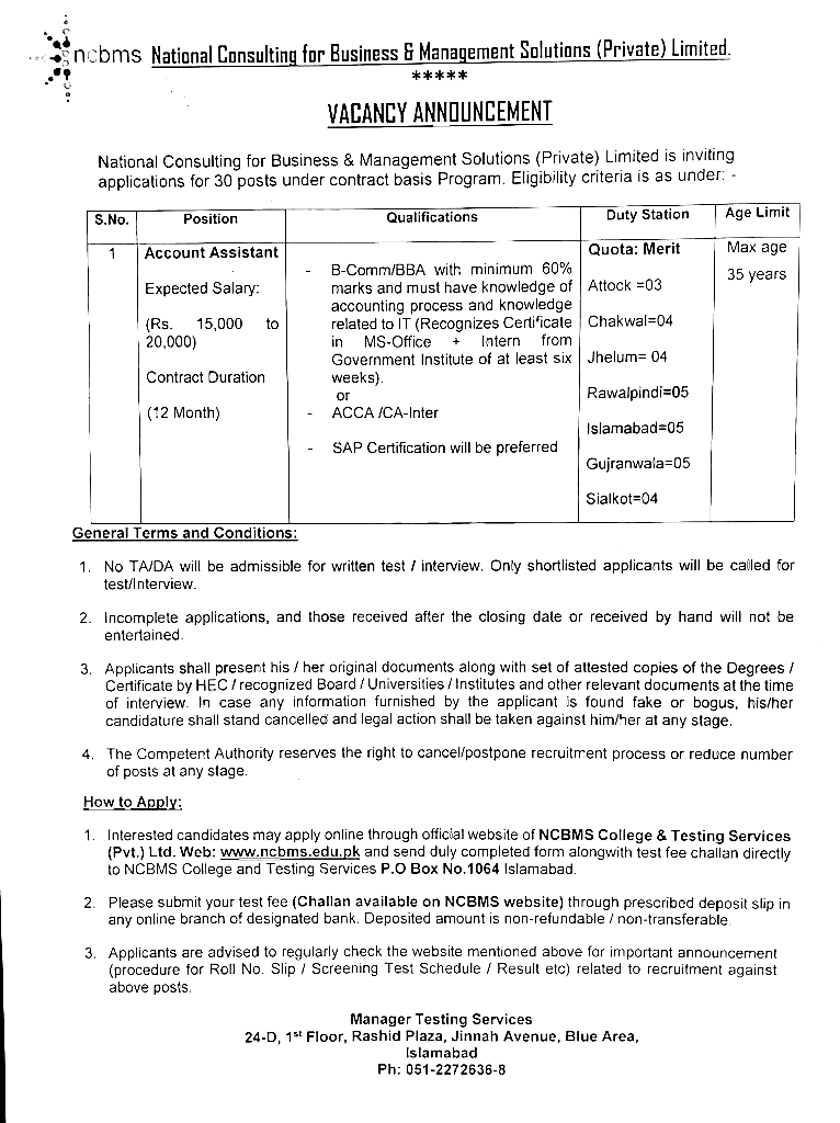 NCBMS Punjab Jobs 2021