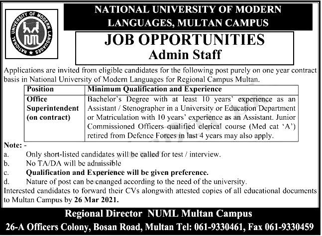 NUML University Multan Campus Jobs 2021