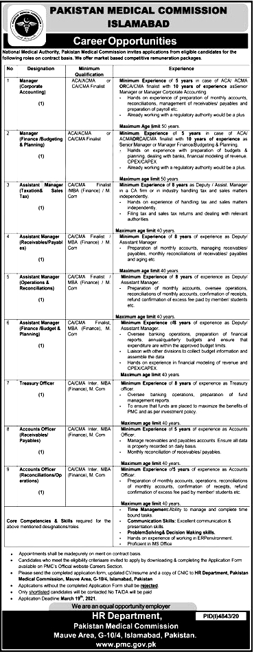 Pakistan Medical Commission PMC Jobs 2021