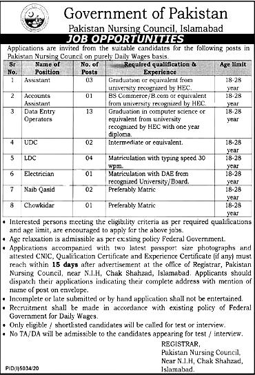 Pakistan Nursing Council PNC Jobs 2021