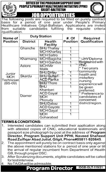 Peoples Primary Healthcare Initiative Gilgit Jobs 2021