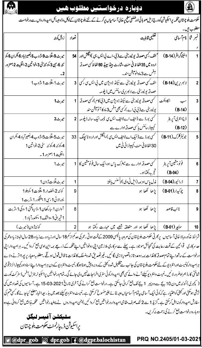 Prosecution Department Balochistan Jobs 2021