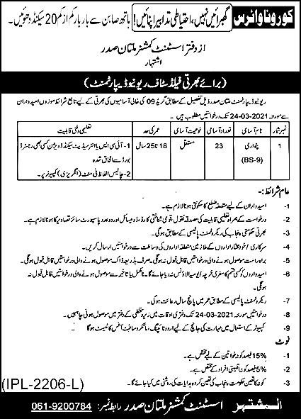 Revenue Department Multan Jobs 2021