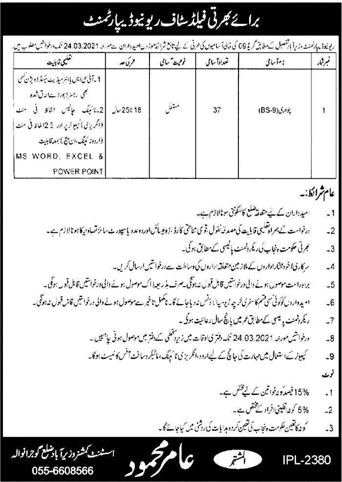 Revenue Department Wazirabad Jobs 2021