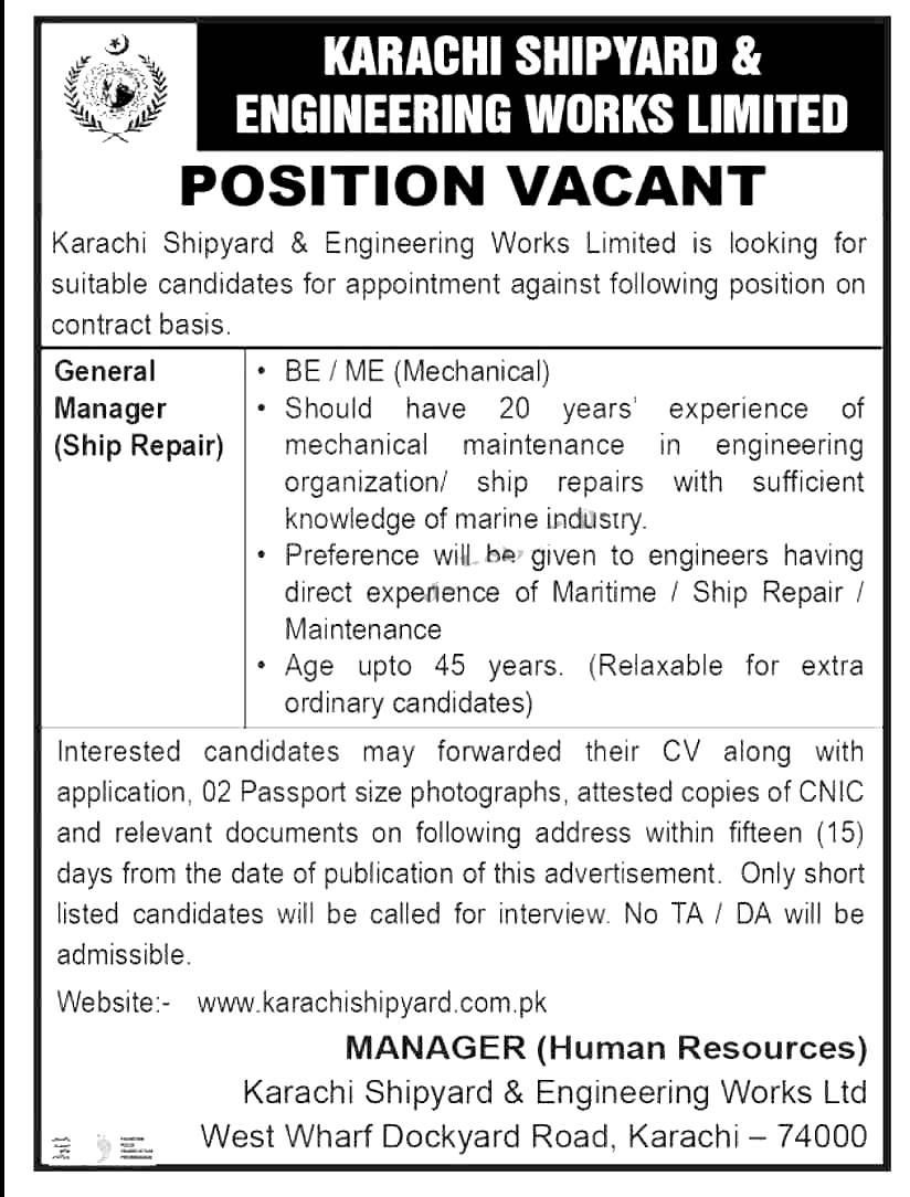 Shipyard & Engineering Works Limited Karachi Jobs 2021