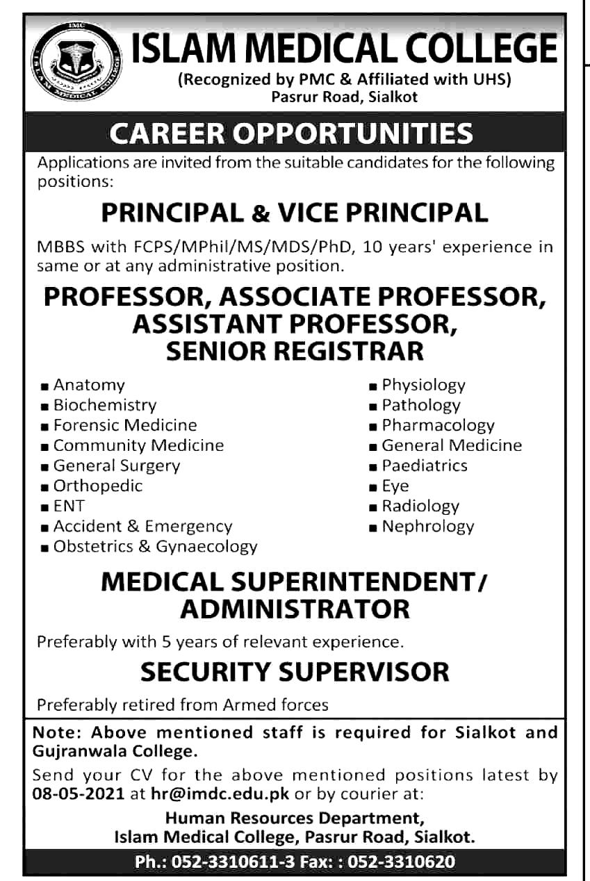 Islamic Medical College Sialkot Jobs 2021
