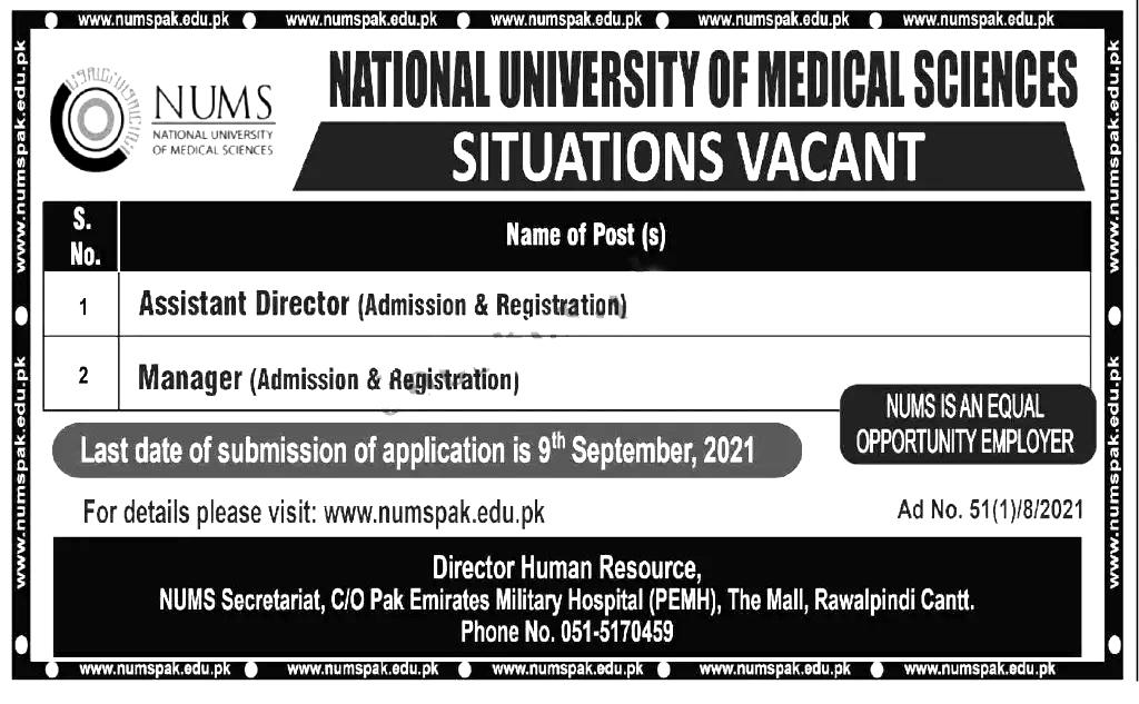 National University of Medical Sciences NUMS University Rawalpindi Jobs 2021