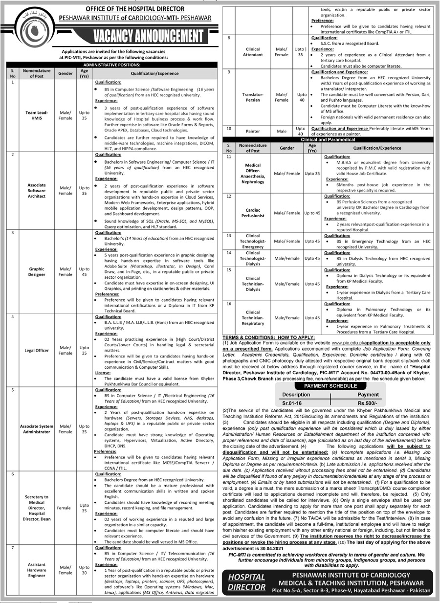 Peshawar Institute of Cardiology PIC Jobs 2021