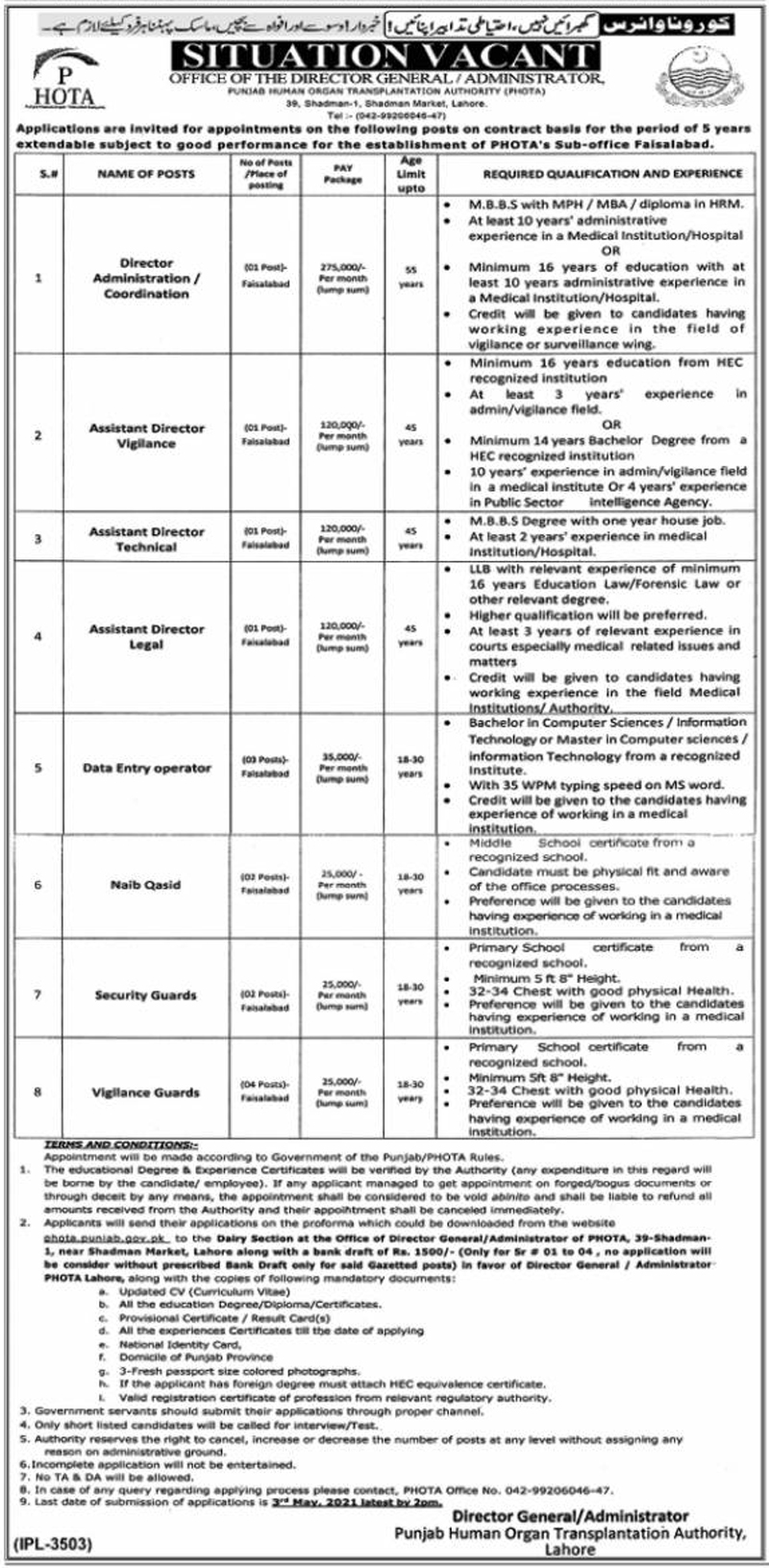 Punjab Human Organ Transplantation Authority PHOTA Jobs 2021