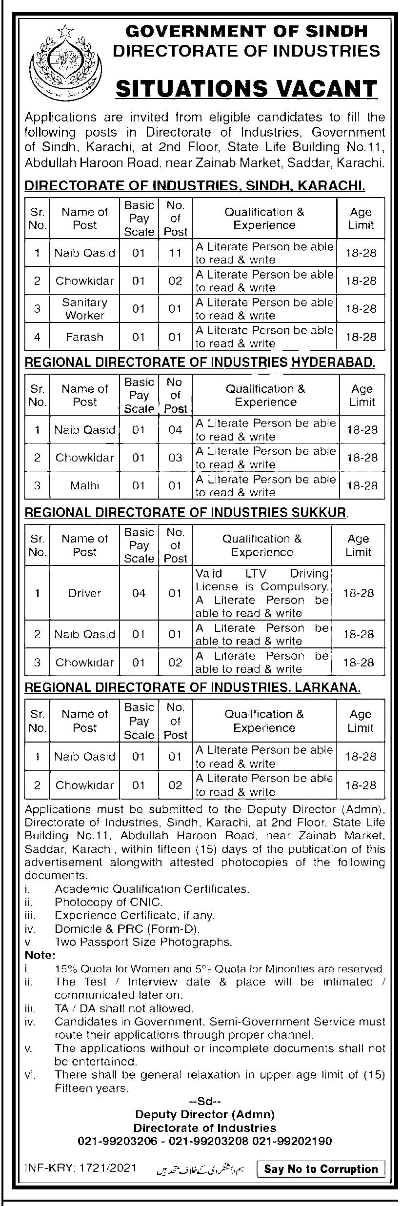 Government of Sindh Directorate of Industries Jobs 2021