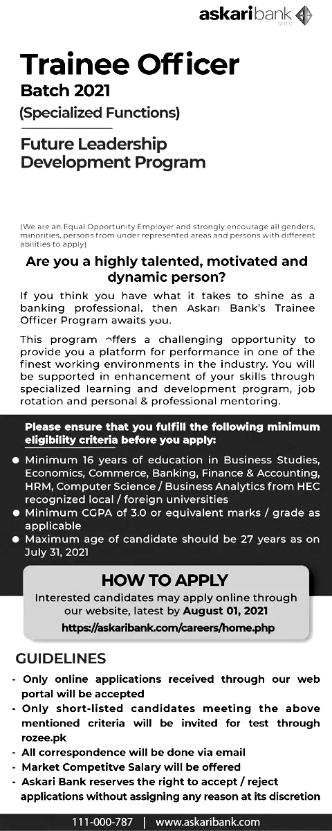 Askari Bank Trainee Officer Jobs 2021