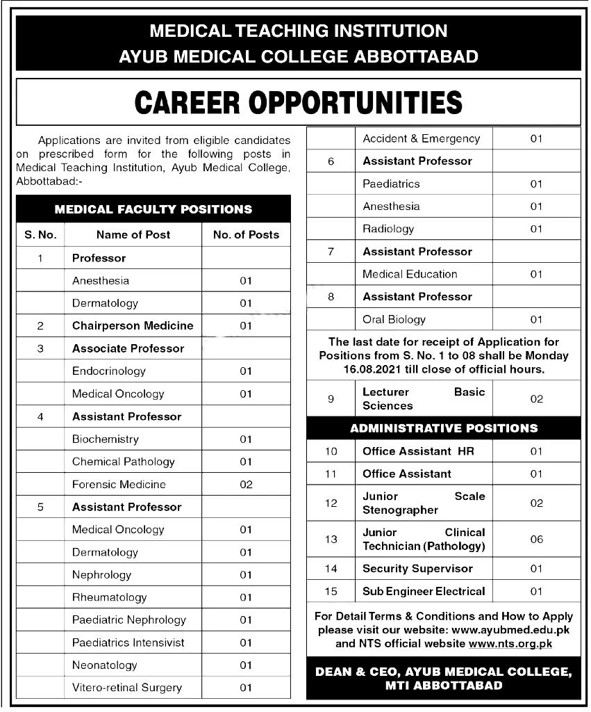 Ayub Medical College Abbottabad NTS Jobs 2021