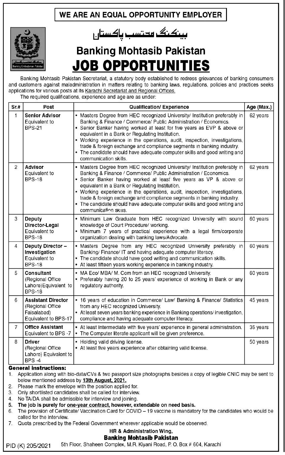 Banking Mohtasib Pakistan BMP Karachi Jobs 2021