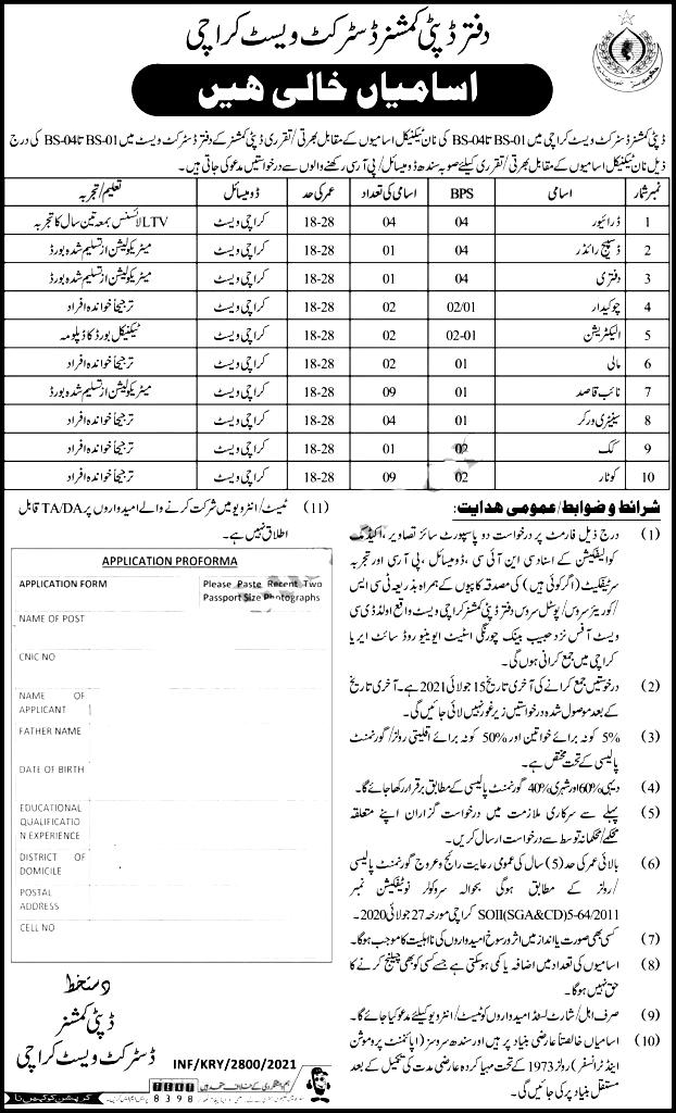 Deputy Commissioner DC Office Karachi Jobs 2021