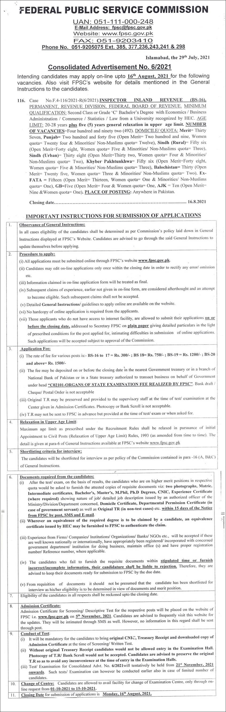 Federal Board of Revenue FBR FPSC Jobs 2021