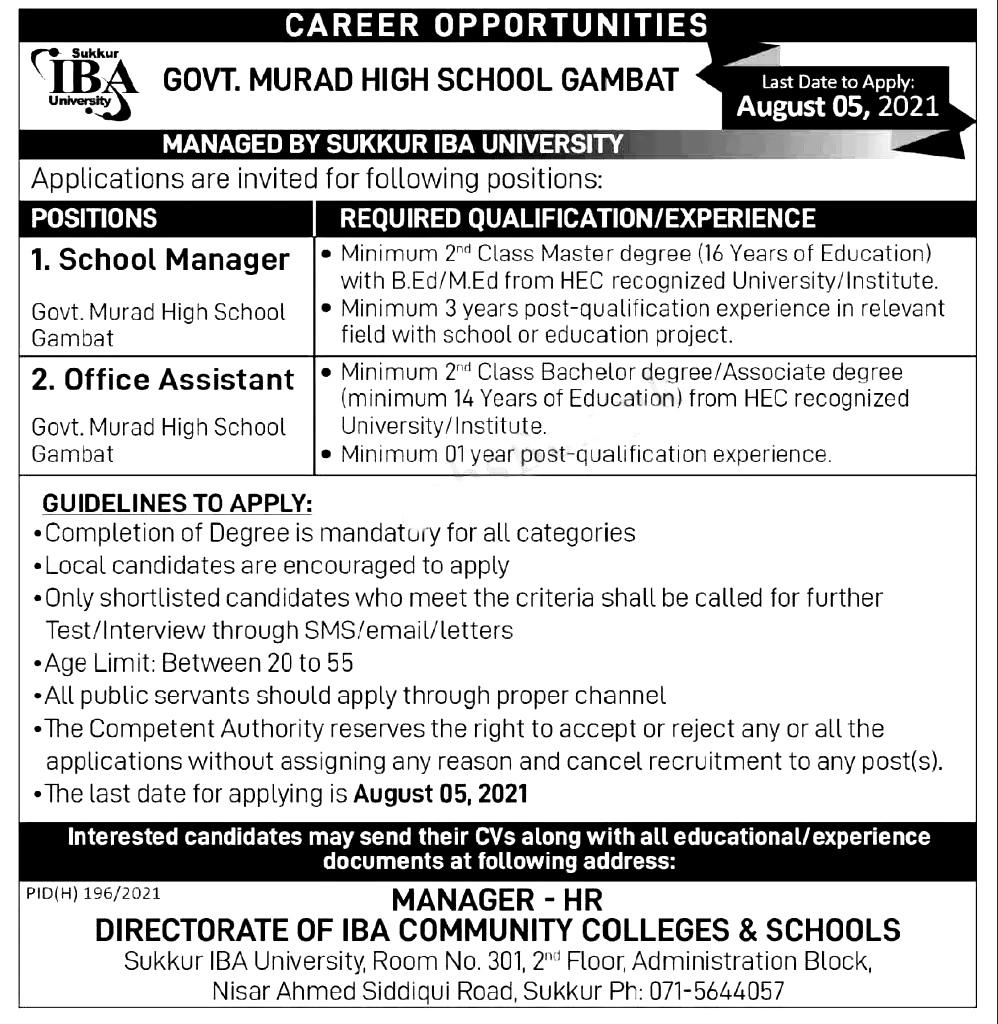 Government Murad High School Gambat Jobs 2021
