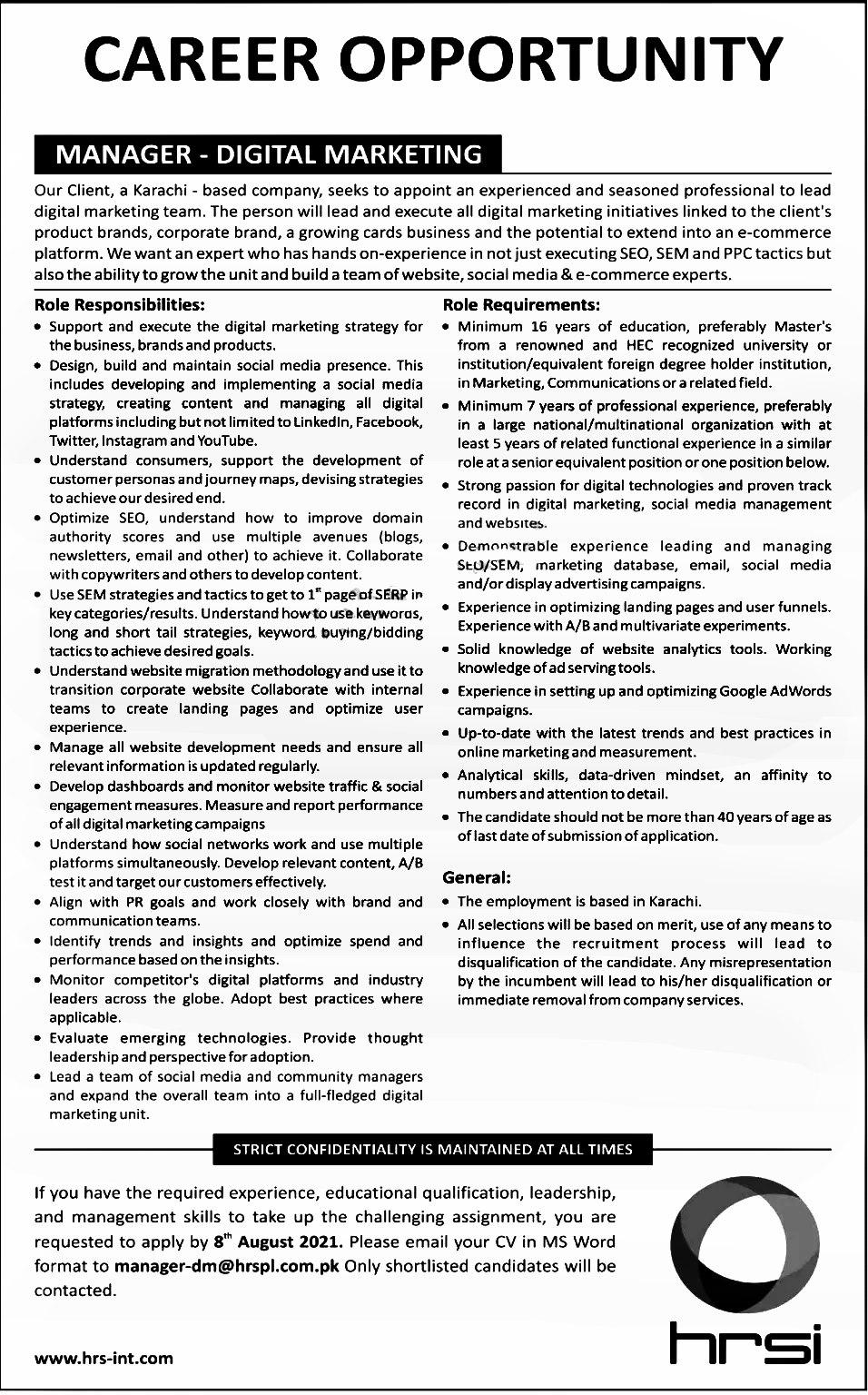 Human Resource Service Provider HRSPL Karachi Jobs 2021