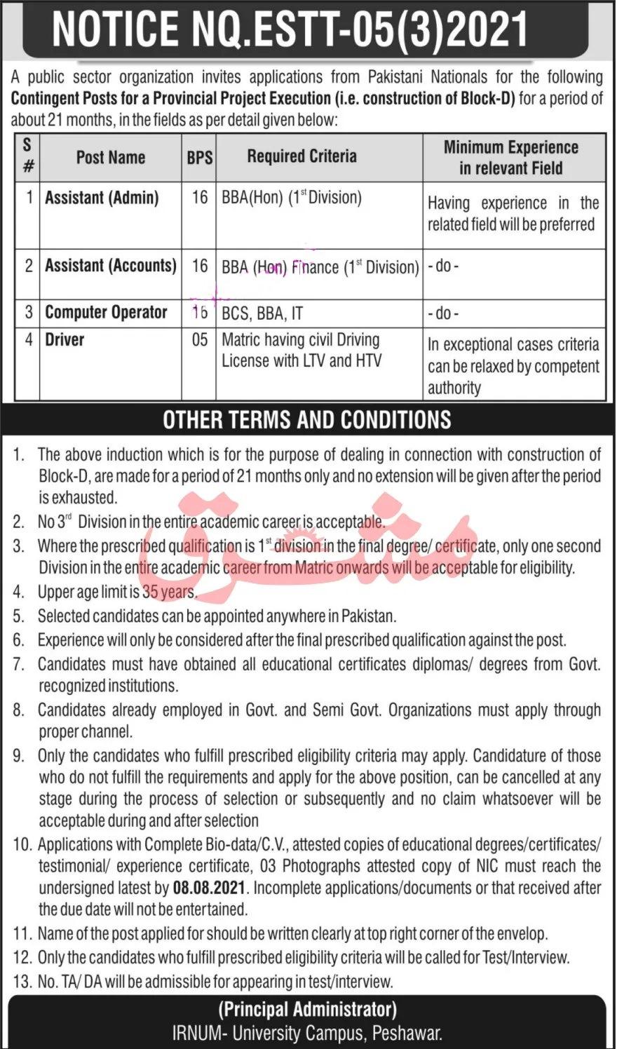 Institute Of Radiotherapy & Nuclear Medicine IRNUM Peshawar Jobs 2021