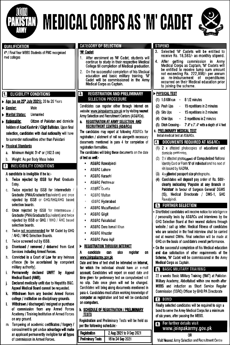 Join Pak Army Medical Corps as M Cadet Jobs 2021