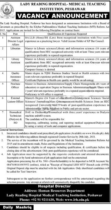 Lady Reading Hospital LRH Peshawar Jobs 2021