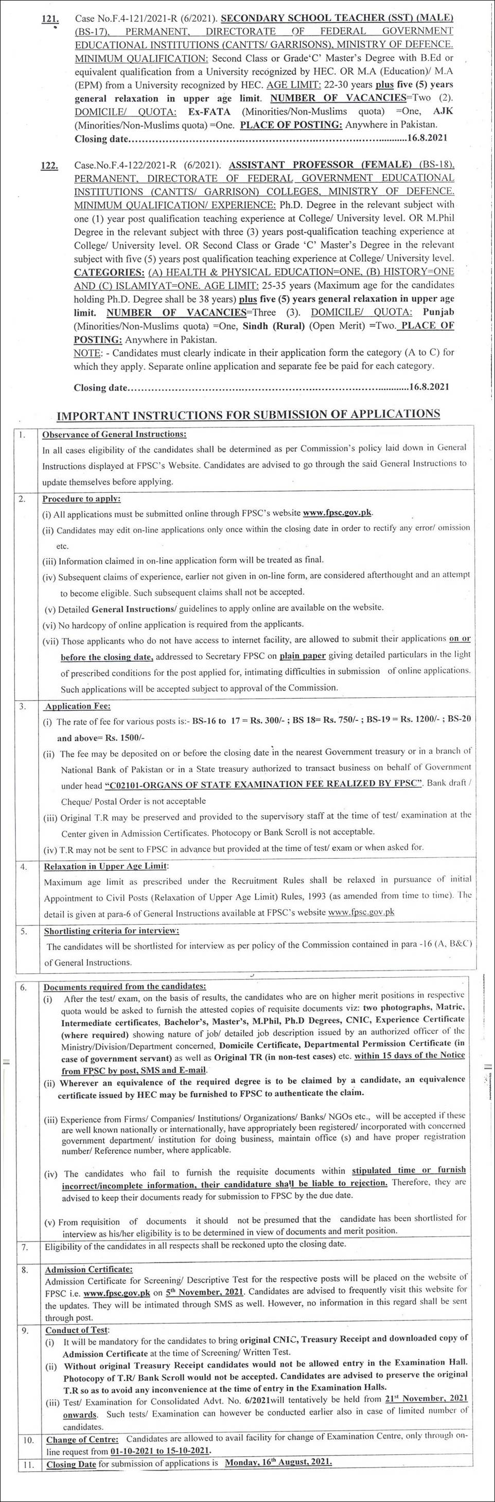 Ministry of Defence FPSC Jobs 2021