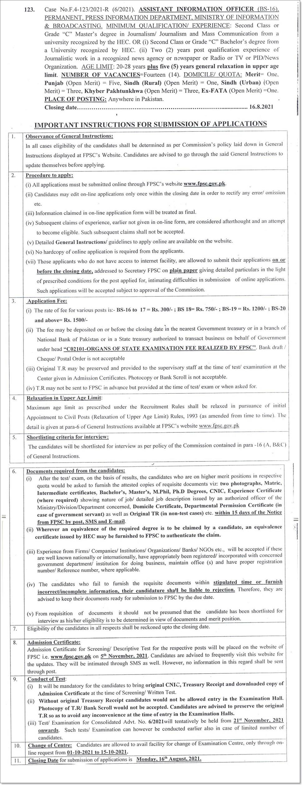 Ministry of Information & Broadcasting FPSC Jobs 2021