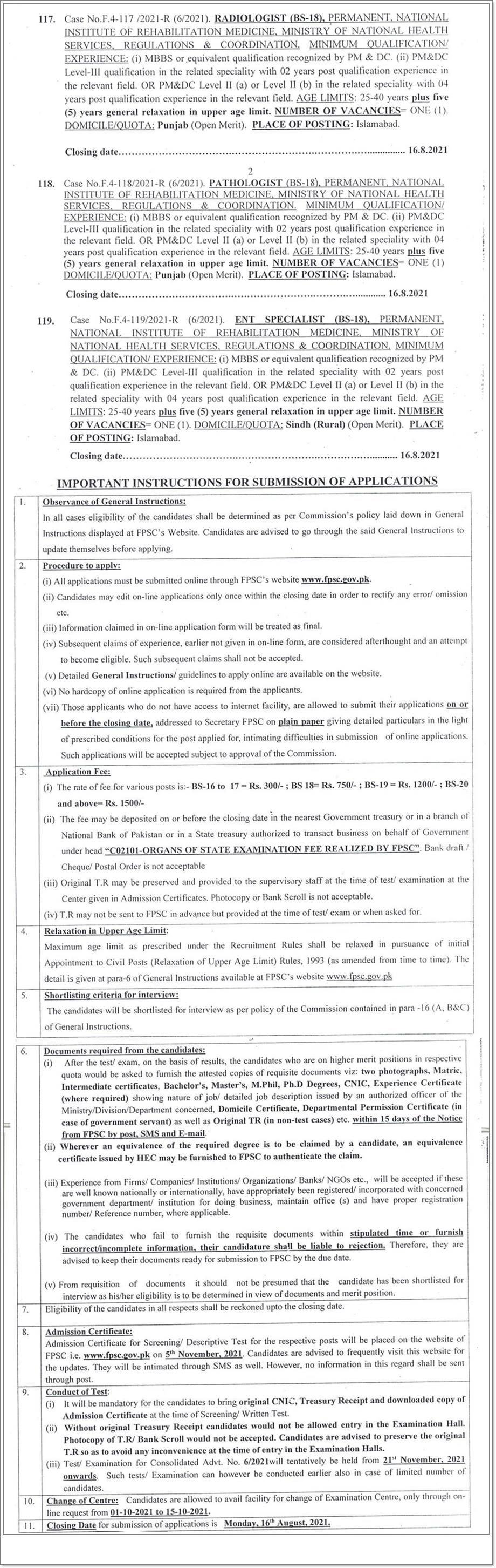 Ministry of National Health Services FPSC Jobs 2021