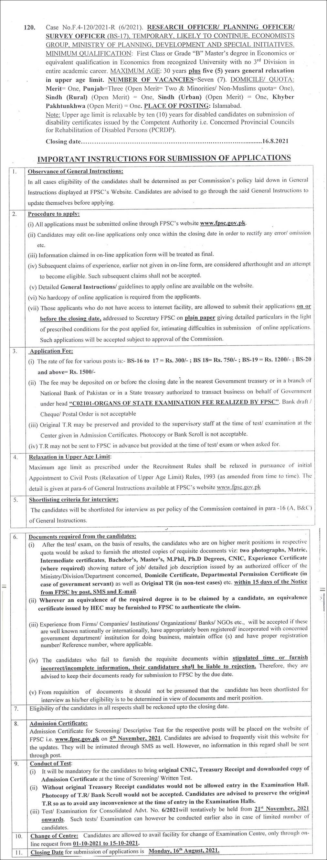 Ministry of Planning Development FPSC Jobs 2021