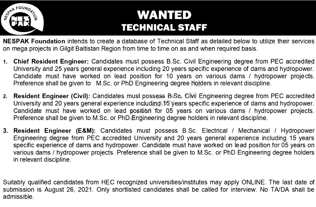 National Engineering Services Pakistan NESPAK Foundation Jobs 2021