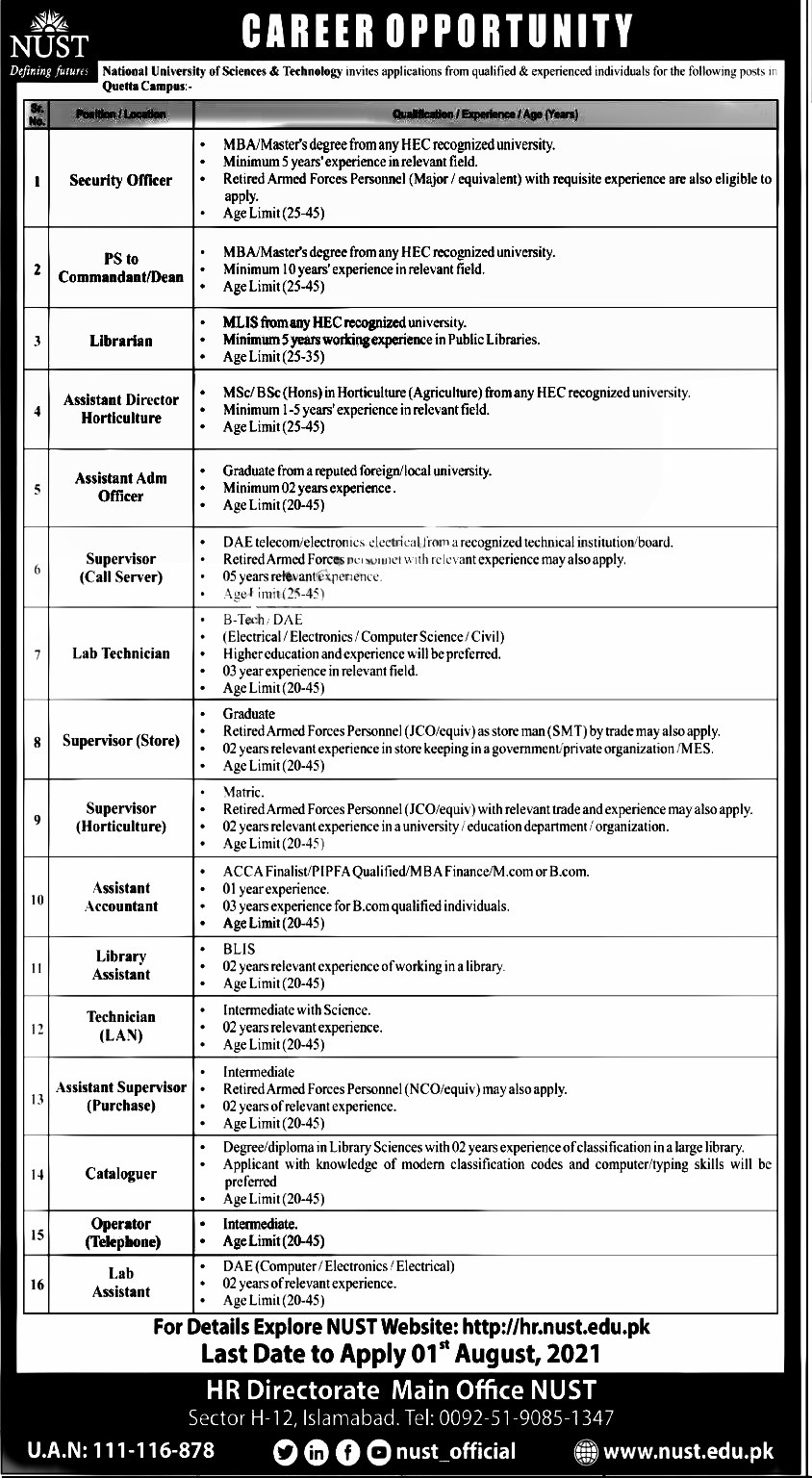 National University of Science & Technology NUST Quetta Campus Jobs 2021