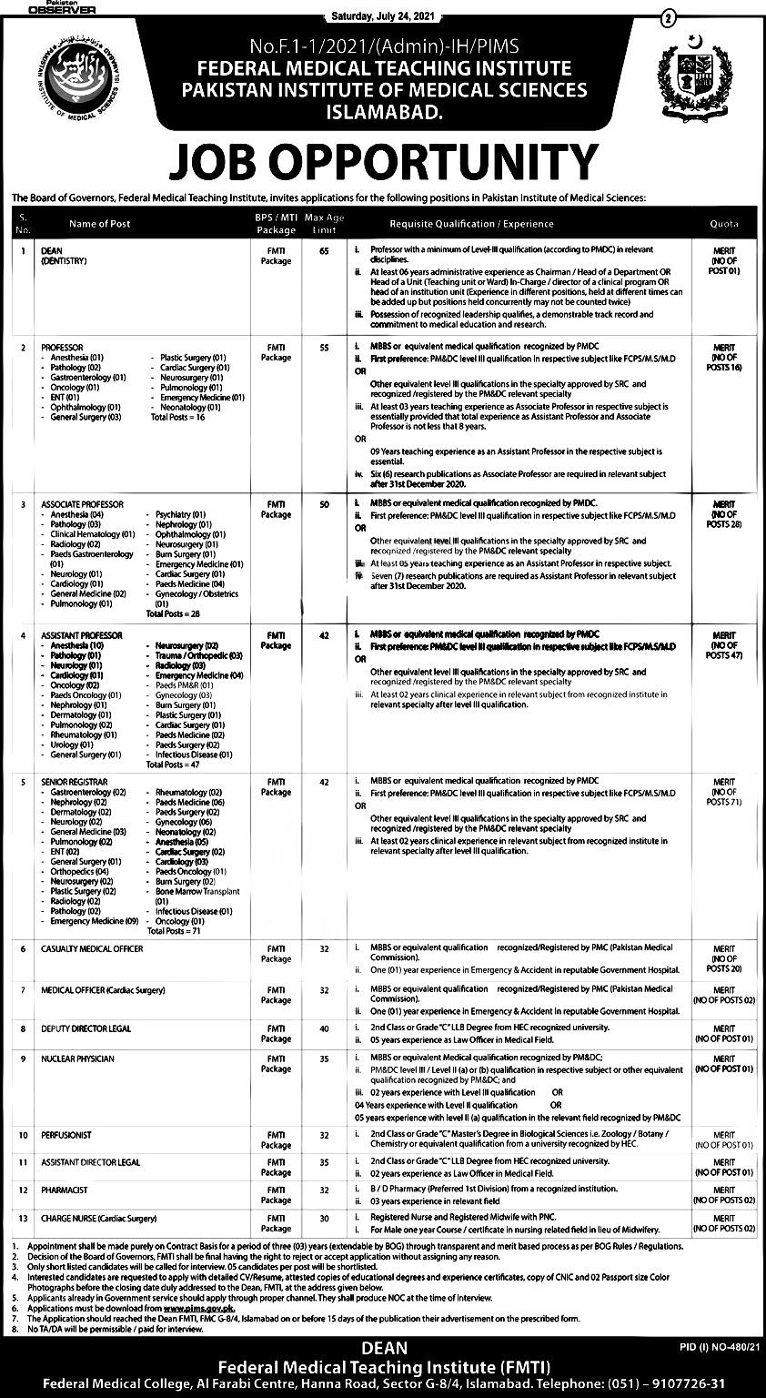 Pakistan Institute of Medical Sciences PIMS Islamabad Jobs 2021