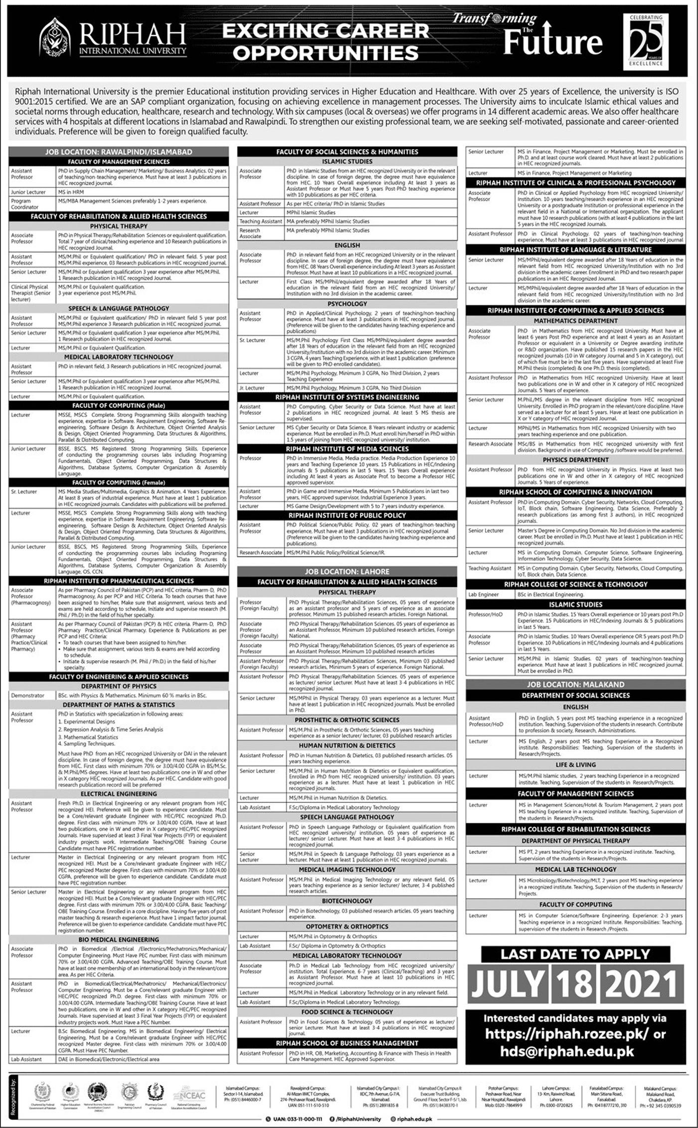 Riphah International University RIU Islamabad Jobs 2021