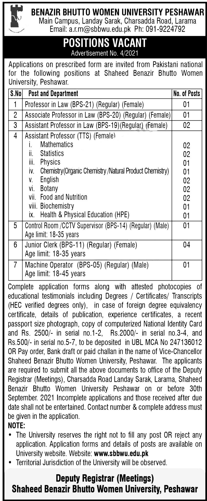 Shaheed Benazir Bhutto Women University SBBWU Peshawar Jobs 2021