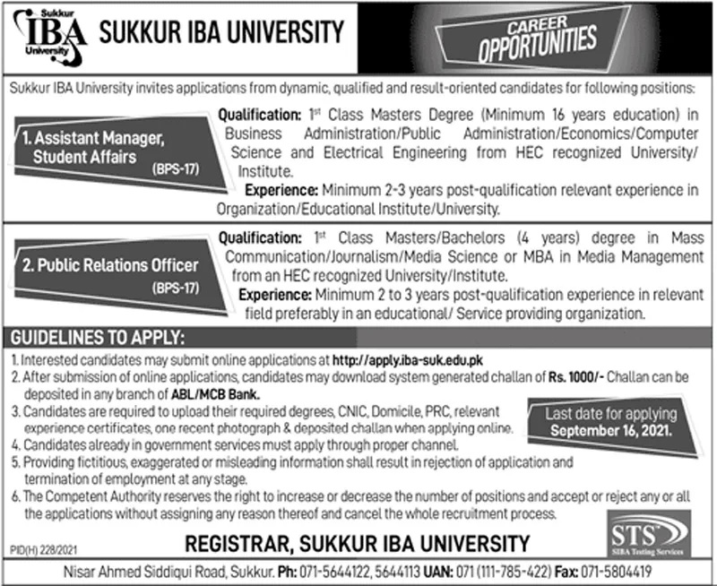 Sukkur Institute of Business Administration IBA University STS Jobs 2021