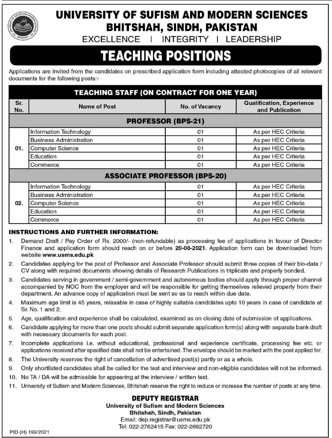 University of Sufism and Modern Sciences USMS Matiari Jobs 2021