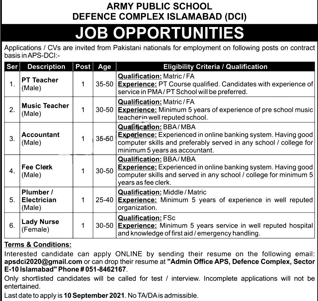 Army Public School Defence Complex Islamabad Jobs 2021