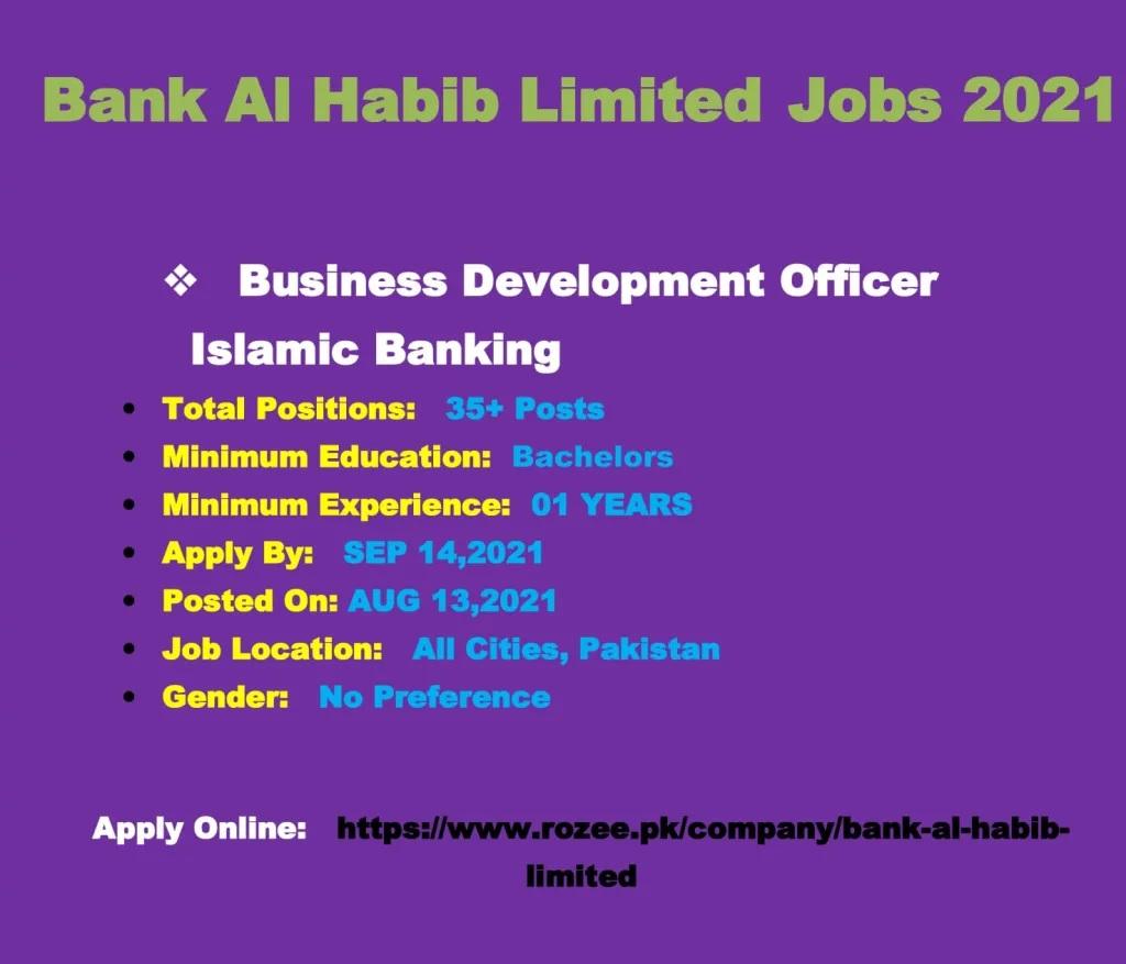 Bank Al Habib Karachi Jobs 2021