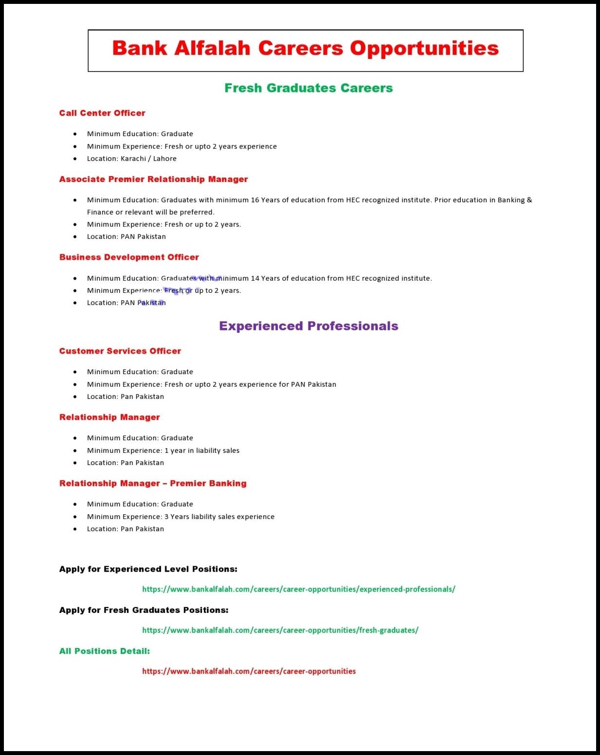 Bank Alfalah Jobs 2021
