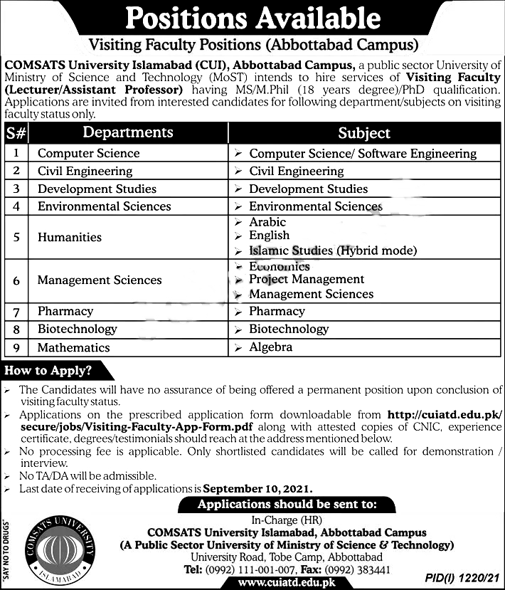 COMSATS University Abbottabad Campus Jobs 2021
