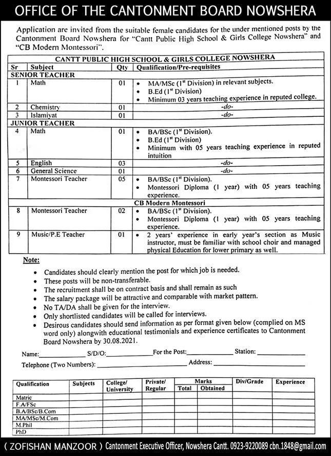 Cantt Public High School & Girls College Nowshera Jobs 2021
