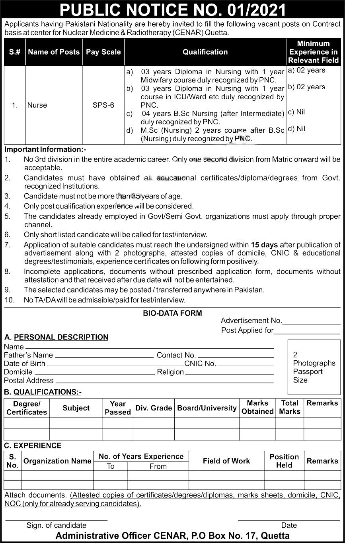Center for Nuclear Medicine & Radiotherapy CENAR Quetta Jobs 2021