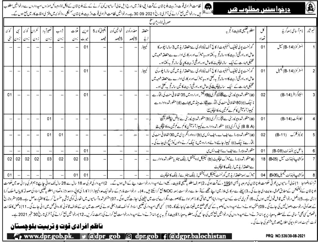 Directorate of Manpower Training Balochistan Jobs 2021